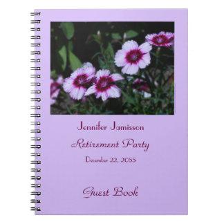 Libro de visitas del fiesta de retiro, flores cuadernos
