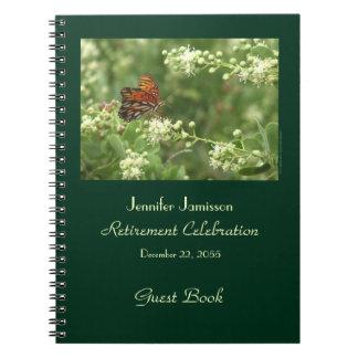 Libro de visitas del fiesta de retiro, mariposa cuaderno