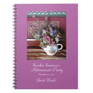 Libro de visitas del fiesta de retiro, tetera del cuaderno