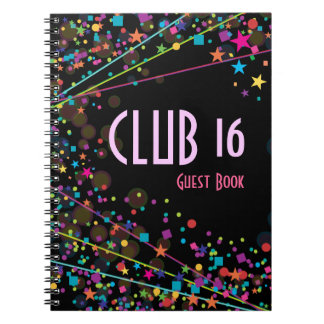 Libro de visitas del fiesta del club del dulce 16  libreta espiral
