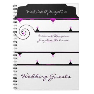 Libro de visitas elegante púrpura y negro del boda libreta espiral