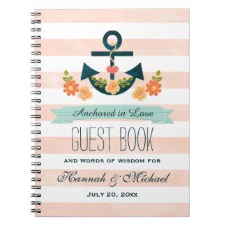 Libro de visitas náutico del boda del ancla del libro de apuntes
