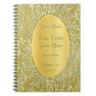 Libro de visitas ornamental del brillo del oro libretas espirales