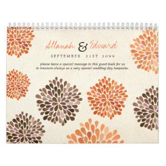 Libro de visitas personalizado boda de la foto del calendarios de pared