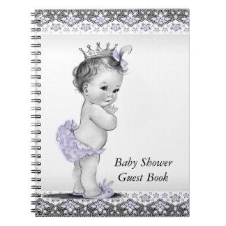 Libro de visitas púrpura y gris de la lavanda de l libretas