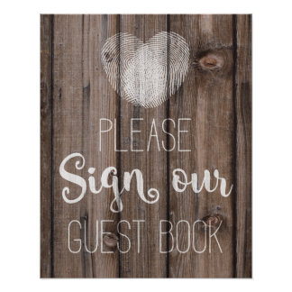 Libro de visitas que casa la muestra de madera póster