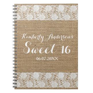 Libro de visitas romántico del dulce 16 del cordón spiral notebook