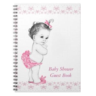 Libro de visitas rosado de la fiesta de bienvenida cuaderno