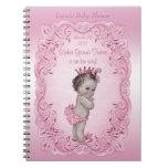 Libro de visitas rosado de la princesa fiesta de libreta espiral