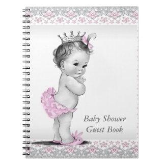 Libro de visitas rosado y gris de la fiesta de bie notebook