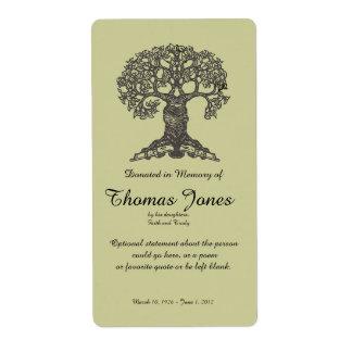 Libro del árbol donado en memoria de Bookplate. Etiquetas De Envío
