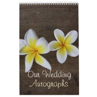 Libro del autógrafo del boda del Frangipani Calendario De Pared