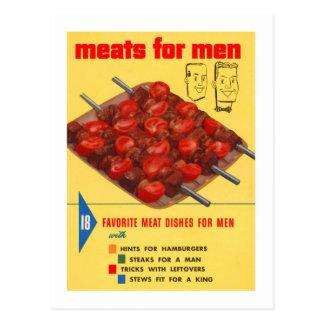 Libro del cocinero de los hombres de la comida del tarjeta postal