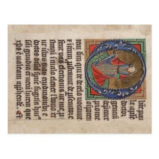 Libro del manuscrito iluminado medieval de las hor tarjeta postal