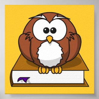 libro del pájaro, del libro, de la señal, marrón y póster