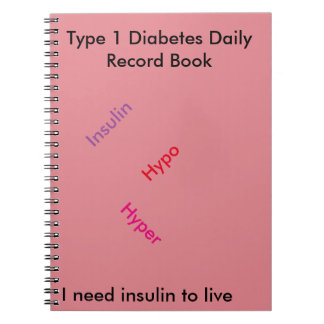 Libro del registro diario de la diabetes del tipo libro de apuntes con espiral