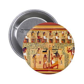 Libro egipcio antiguo de los muertos pin redondo de 2 pulgadas