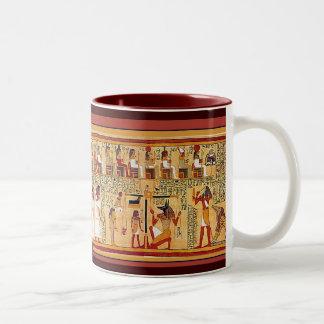 Libro egipcio antiguo de los muertos taza de café de dos colores