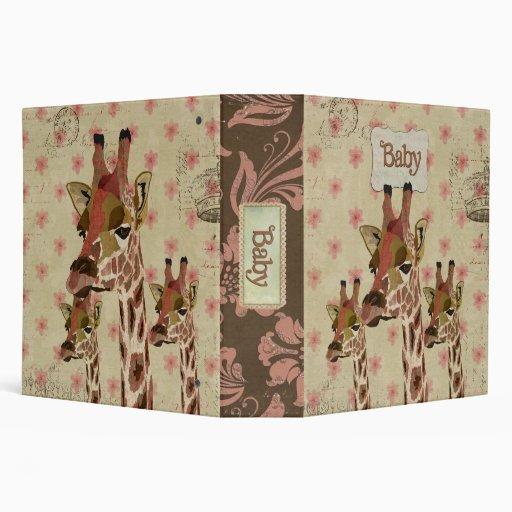 "Libro floral del bebé del rosa de bronce de las ji carpeta 2"""