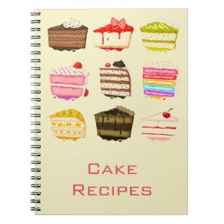 Libro lindo de la receta de la torta de cumpleaños libreta espiral