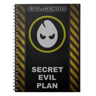 Libro malvado secreto del plan del Mal-Genio Libros De Apuntes Con Espiral