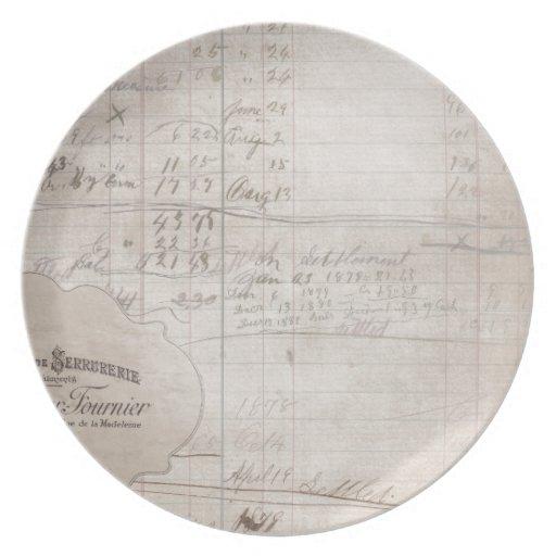 Libro mayor manuscrito del vintage platos