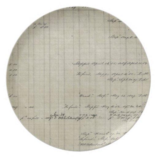 libro mayor manuscrito viejo plato para fiesta
