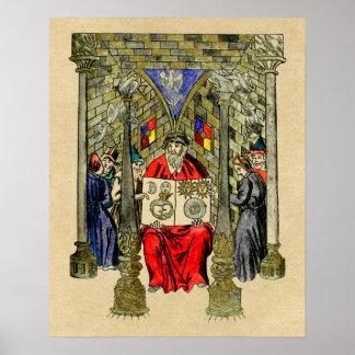 Libro medieval de la alquimia póster