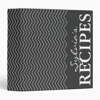 Libro negro y blanco de la carpeta de la receta de