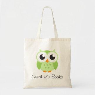 Libro personalizado búho verde lindo de la bolsa tela barata