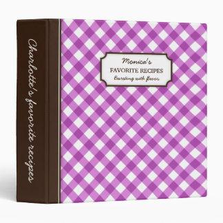 "Libro personalizado modelo púrpura de la receta de carpeta 1 1/2"""