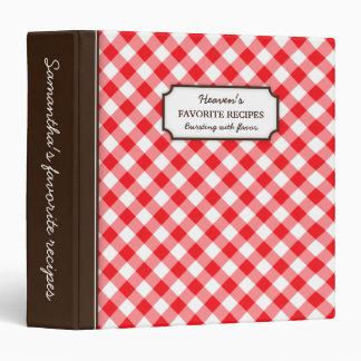 Libro personalizado modelo rojo de la receta de la