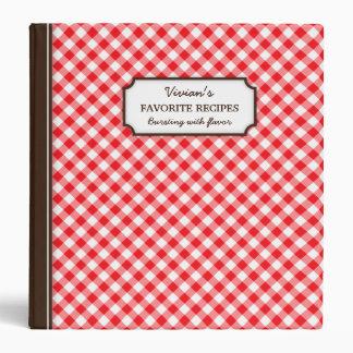 """Libro personalizado modelo rojo de la receta de la carpeta 1 1/2"""""""