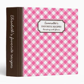 """Libro personalizado modelo rosado de la receta de carpeta 1 1/2"""""""