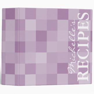Libro púrpura de la carpeta de la receta del