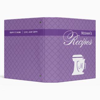 """Libro púrpura de la receta del monograma carpeta 1 1/2"""""""