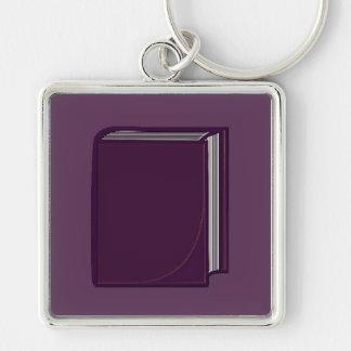 Libro púrpura - PurpleBkg Llavero Cuadrado Plateado