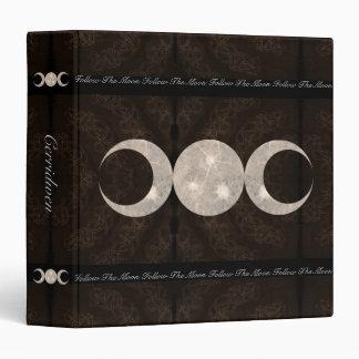"""Libro remilgado del diseño de la luna del MED de Carpeta 1 1/2"""""""
