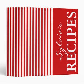 Libro rojo y blanco de la carpeta de la receta del