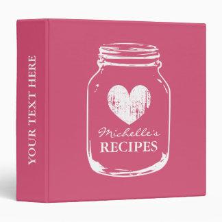 Libro rosado de la carpeta de la receta de la