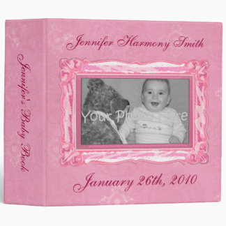 Libro rosado personalizado del bebé