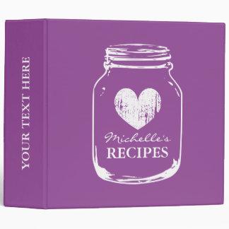Libro rústico púrpura de la carpeta de la receta