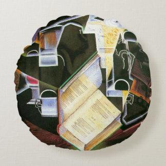 Libro, tubo y vidrios, Juan Gris, cubismo del Cojín Redondo