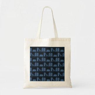 Libros azul marino en estante bolsa de mano