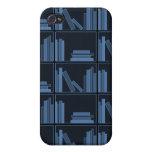 Libros azul marino en estante iPhone 4 cobertura