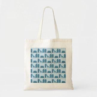 Libros azules en estante bolsa lienzo