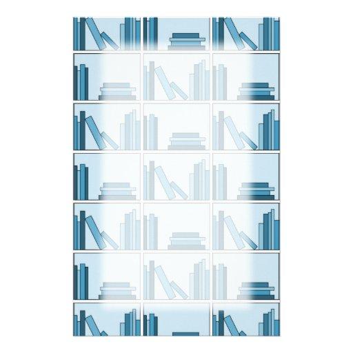 Libros azules en estante papelería