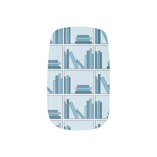 Libros azules en estante pegatinas para manicura