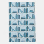 Libros azules en estante toallas de mano
