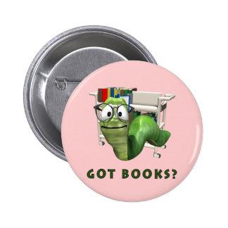 ¿Libros conseguidos? Ratón de biblioteca Pin Redondo De 2 Pulgadas